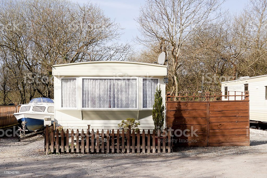 Holiday home with boat. royalty-free stock photo