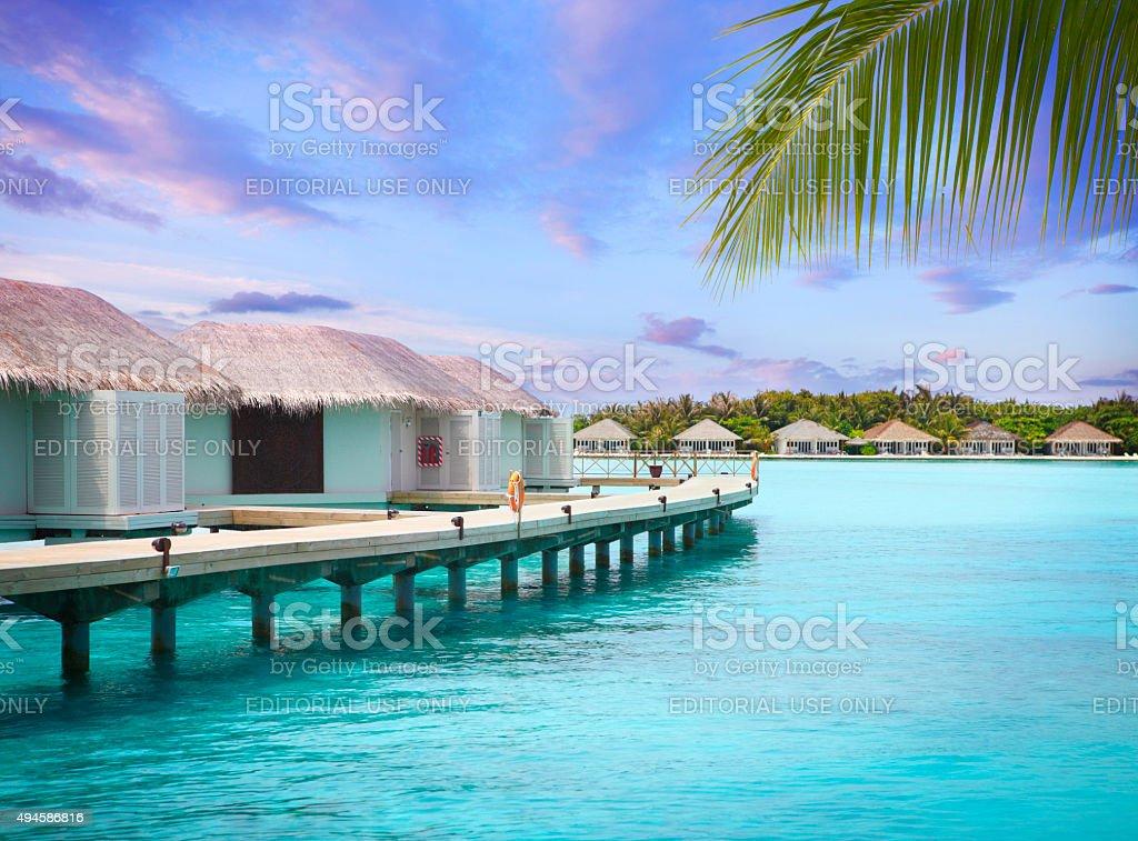 Holiday huts in Maldives stock photo