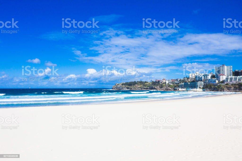 Holiday in Australia - Bondi Beach view with blue sky stock photo