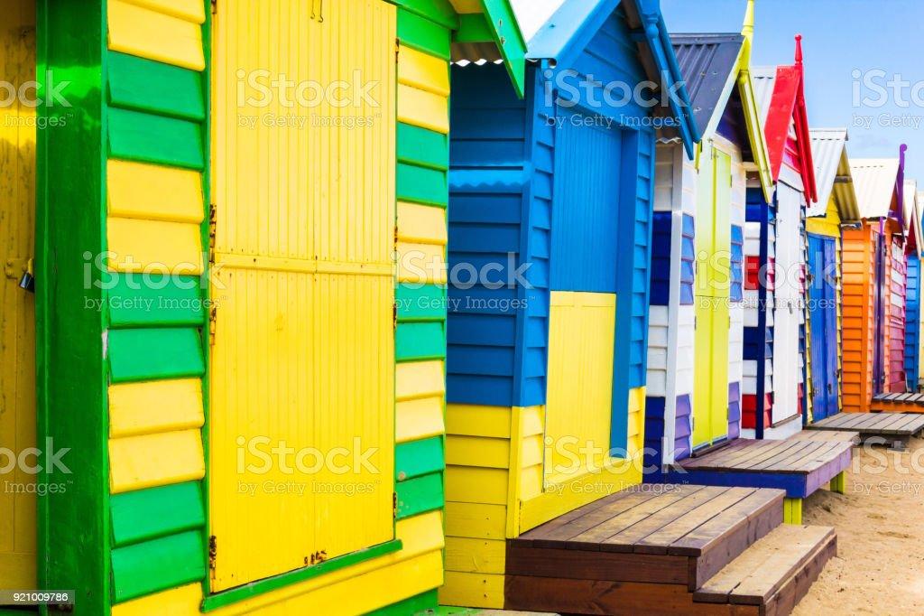 Holiday in Australia -  Brighton Bathing Boxes in Melbourne stock photo