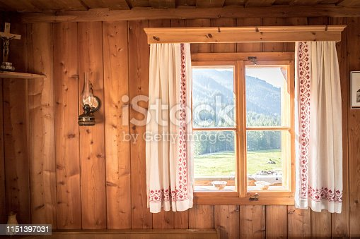 Inside of a rustic wooden hut or cabin, Austria