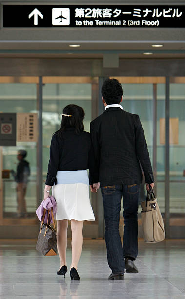 Holiday Japanese couple stock photo