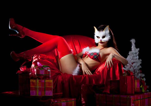 Holiday kitten watch gifts stock photo
