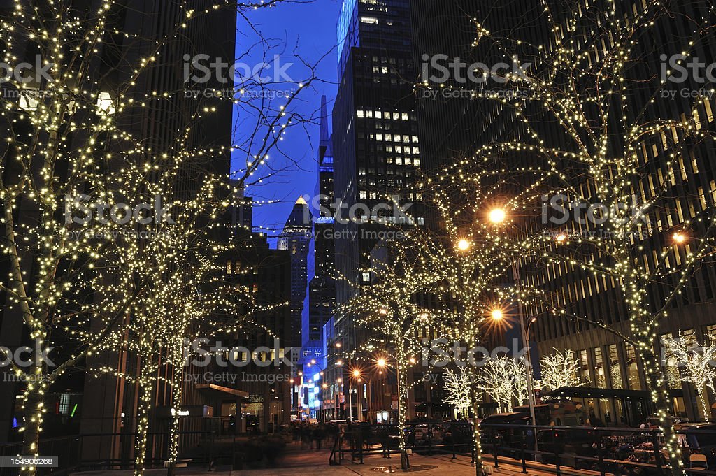 Holiday Lighting in Manhattan of New York City royalty-free stock photo