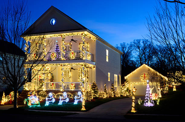Traditional Christmas Lights.Best Traditional Christmas Lights Path Stock Photos