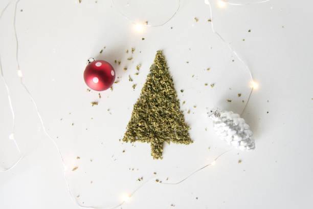 Holiday Marijuana Christmas Tree from Cannabis Flower stock photo