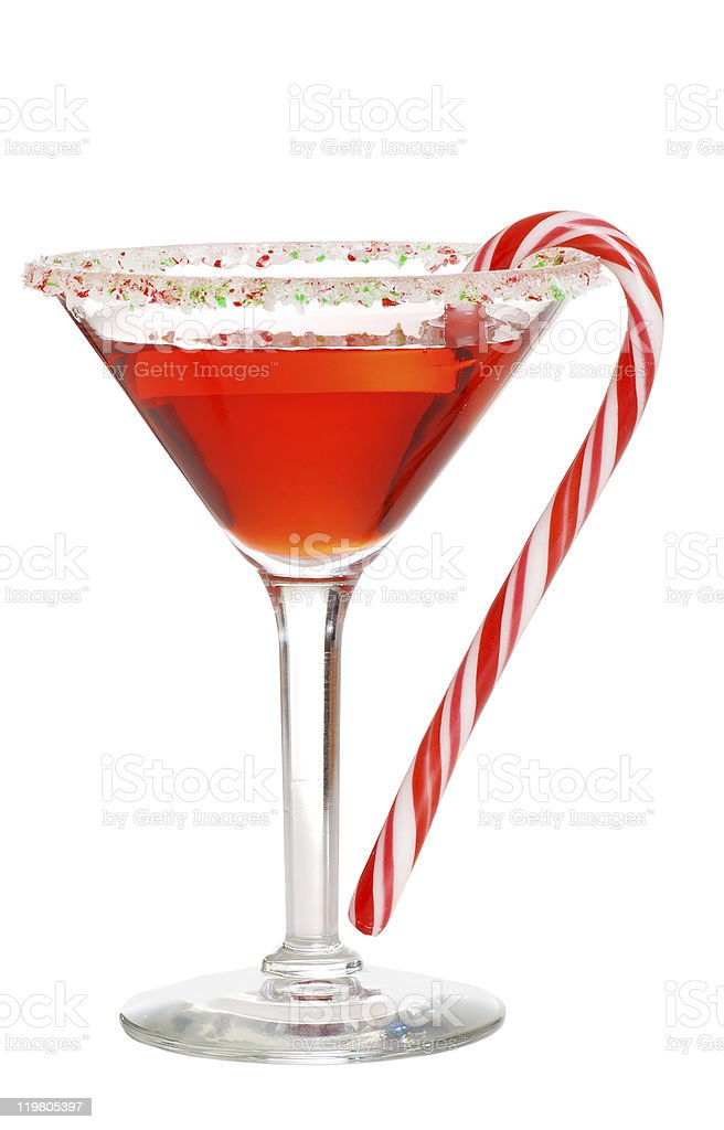 Holiday martini with a candy cane stock photo