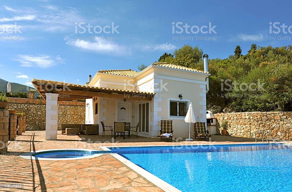 Holiday Mediterranean style villa with private pool royalty-free stock photo
