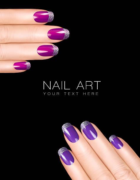 Holiday Nail Art. Luxury Nail Polish. Trendy Nail Stickers stock photo