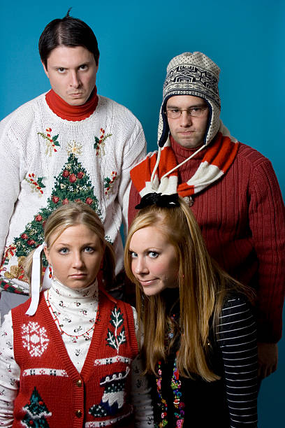 holiday nerds again - ugly girl stock photos and pictures