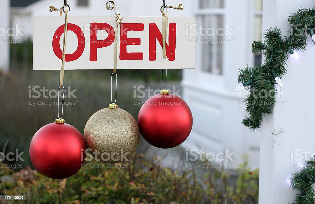 Holiday Open Sign stock photo