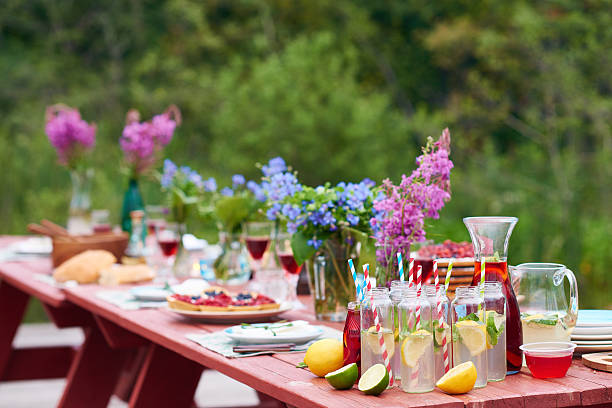 holiday outdoors - garden party stock photos and pictures