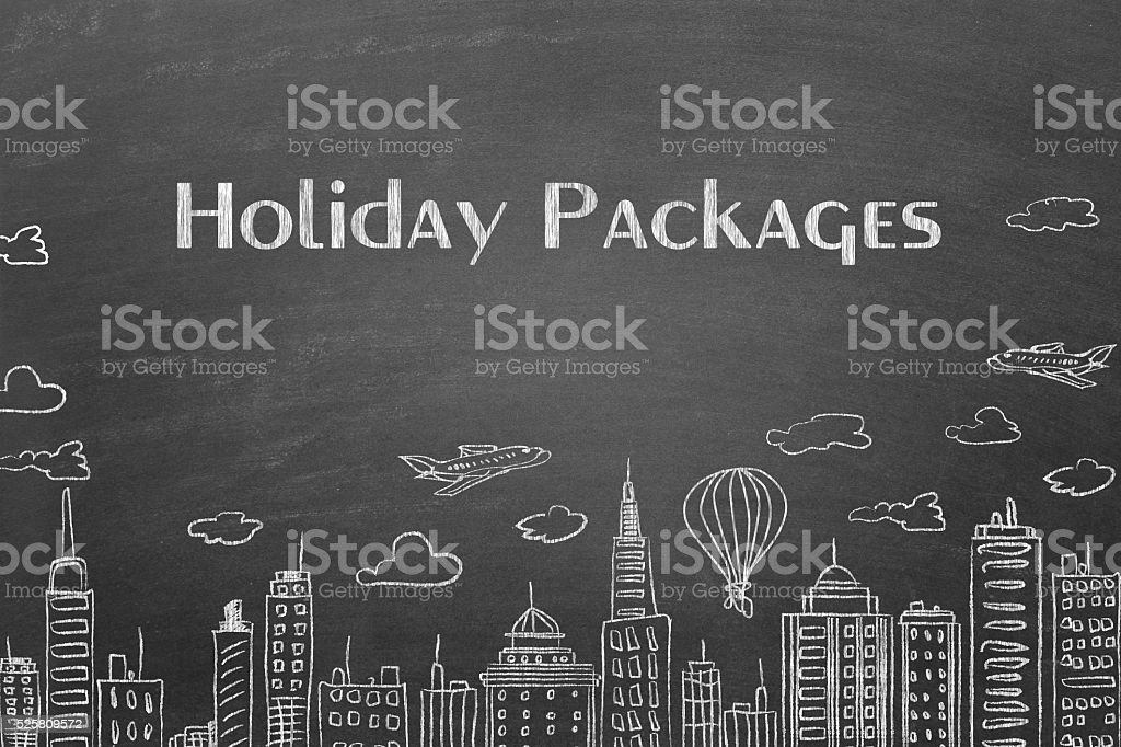 Holiday pacakages with cityscape on wall stock photo