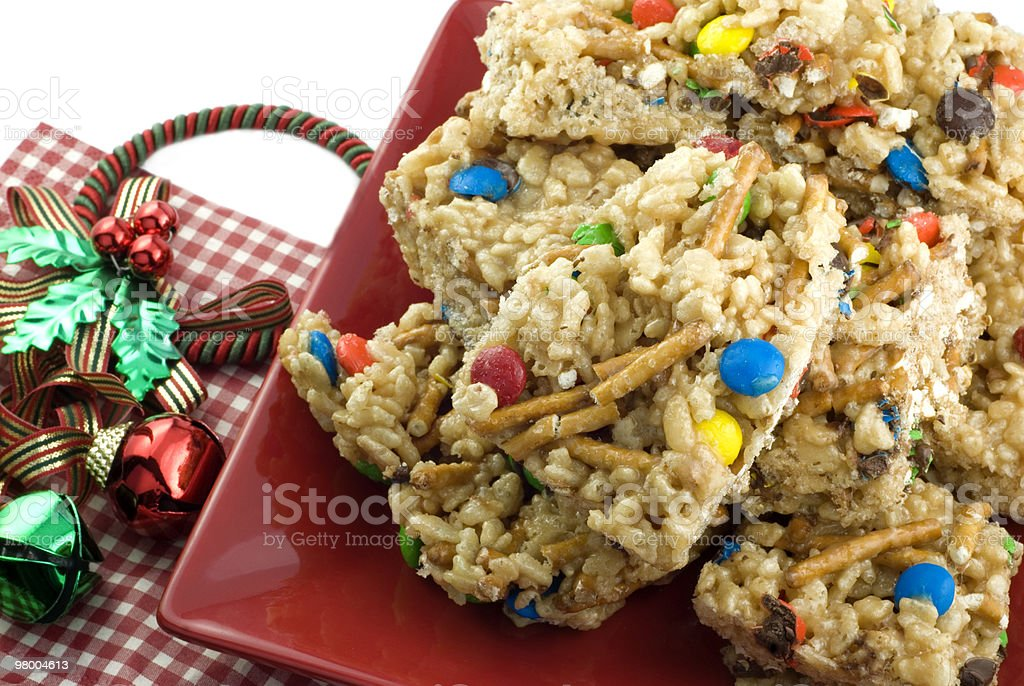 Holiday Peanut Butter Crispy Bars royalty free stockfoto