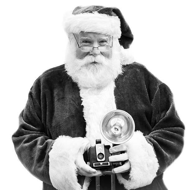Holiday Photo Santa with Camera stock photo