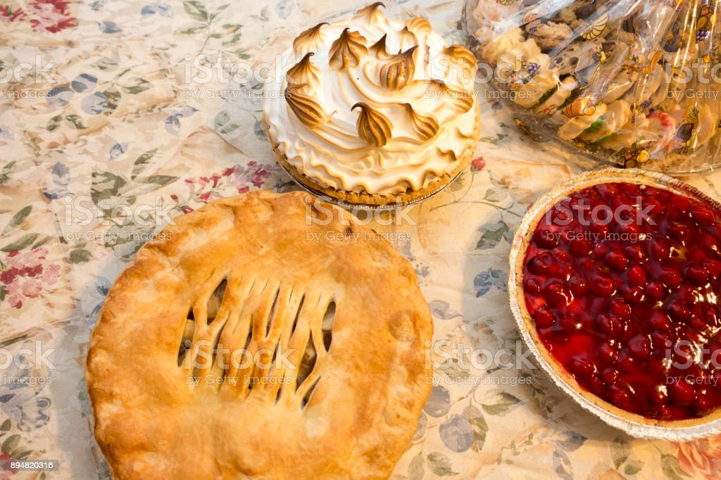 holiday pies on the table stock photo