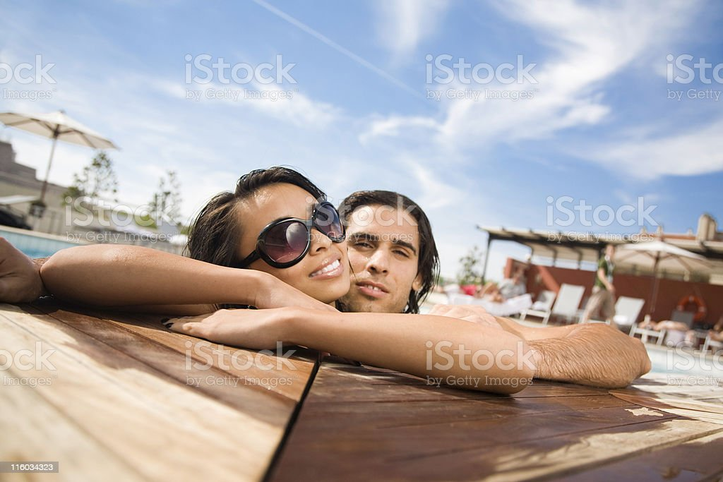 Holiday Pool Couple royalty-free stock photo