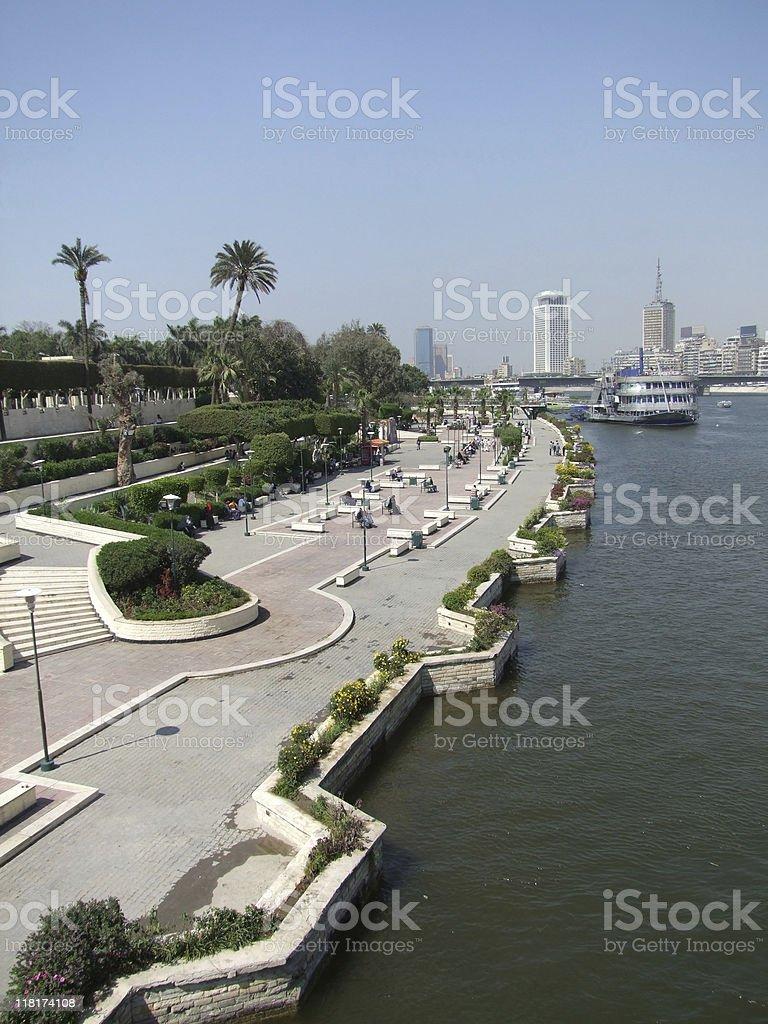 holiday scenery of Gezira waterside stock photo
