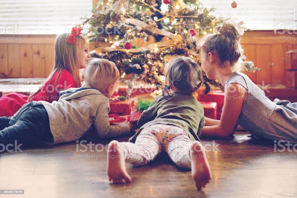 Holiday Season : Kids around the christmas tree stock photo