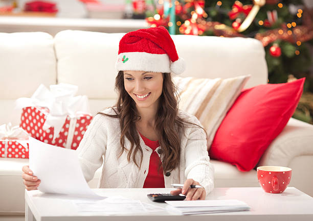 spese per le vacanze - holiday and invoice family foto e immagini stock