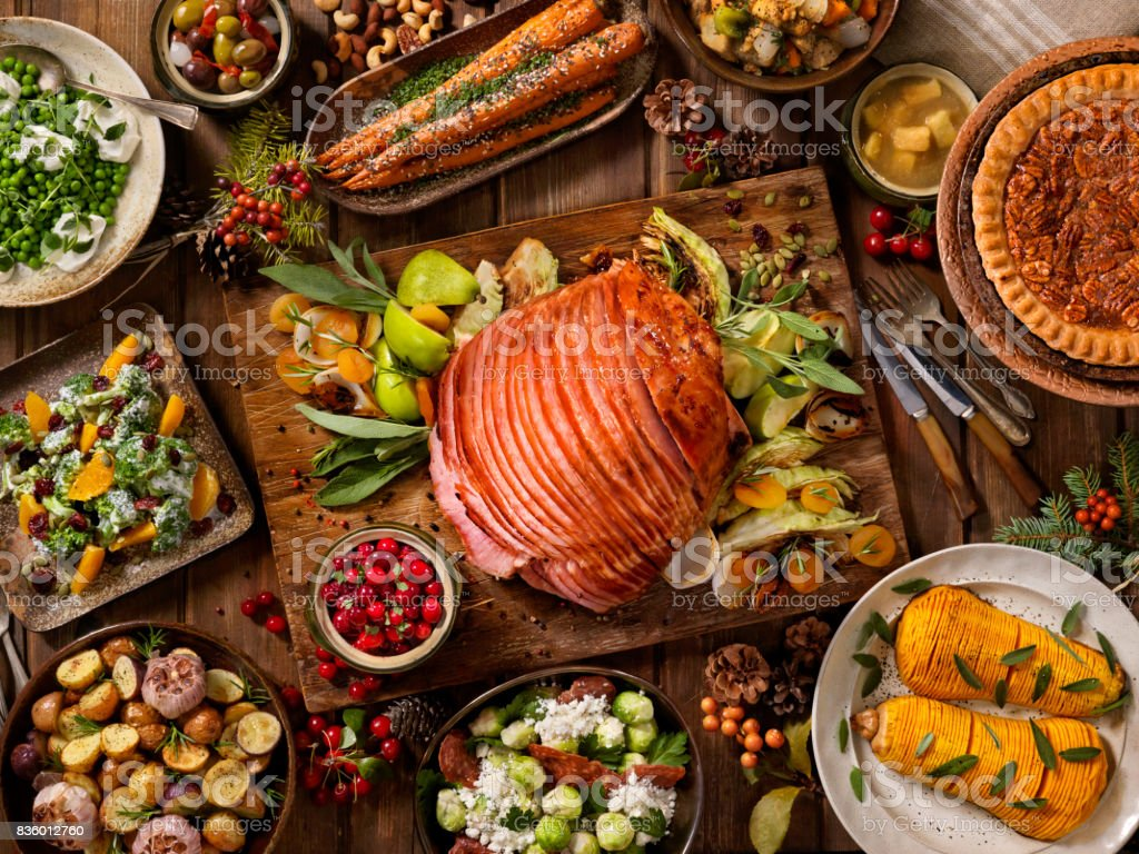 Holiday Spiral Ham Dinner stock photo