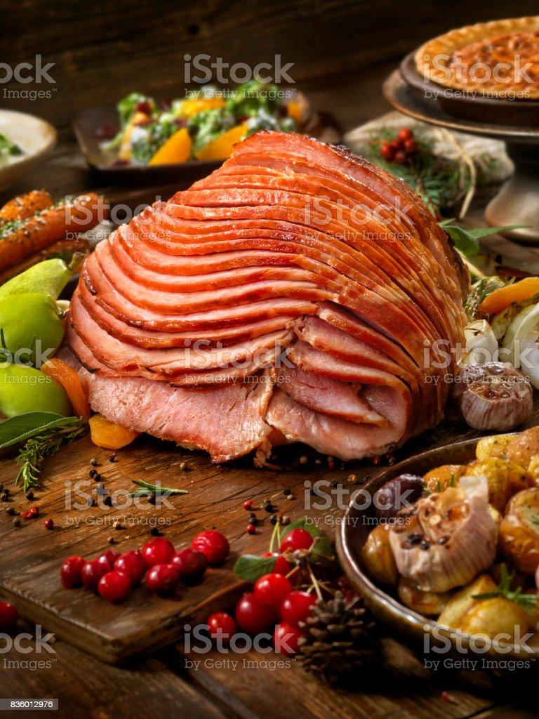 Holiday Spiral Ham Dinner stock photo