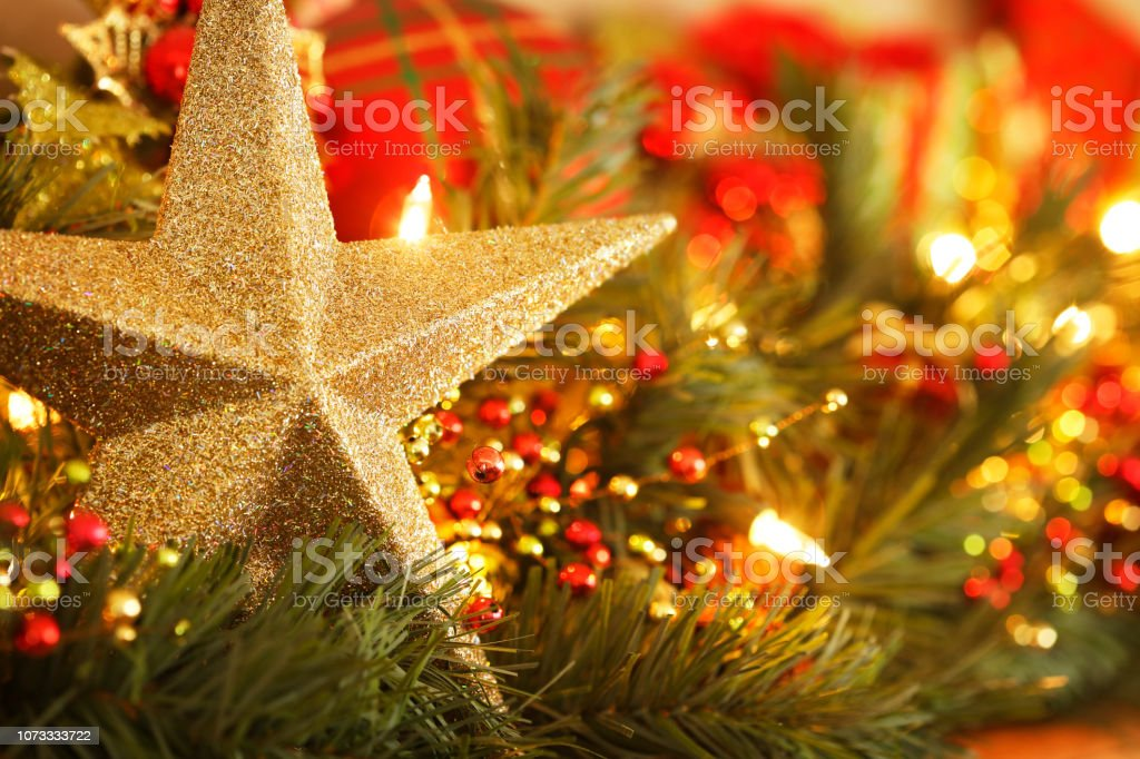 Holiday Star On Mantelpiece stock photo