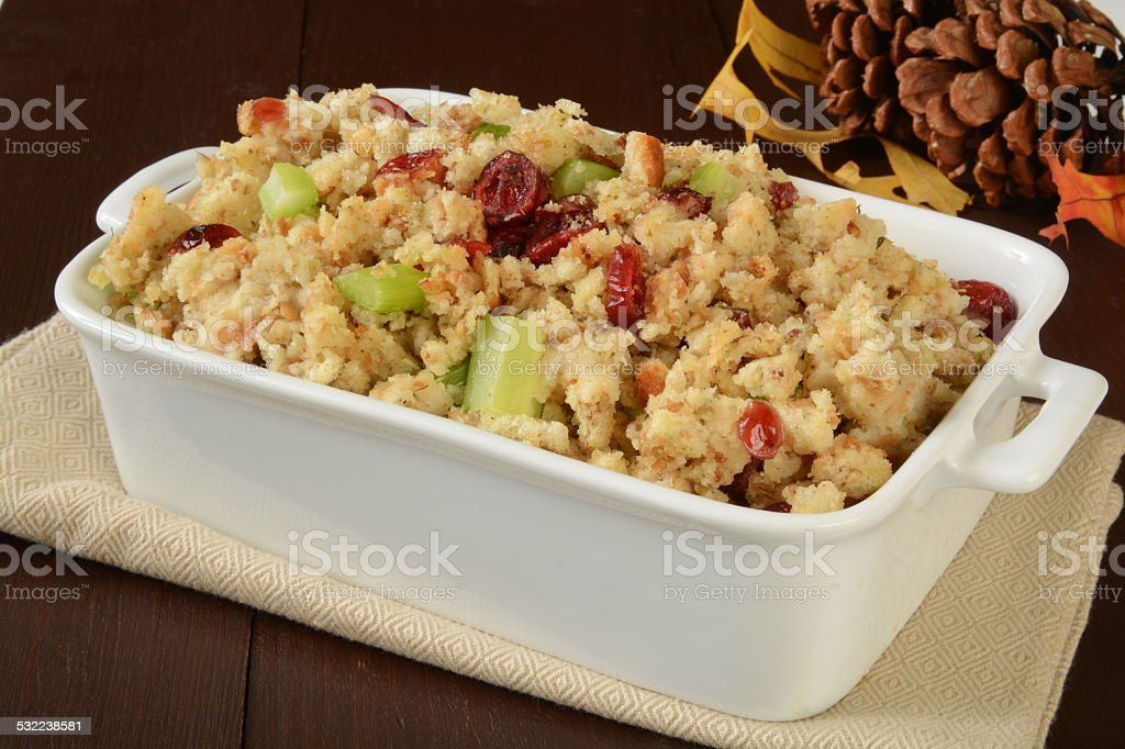 Holiday stuffing with cranberries stock photo