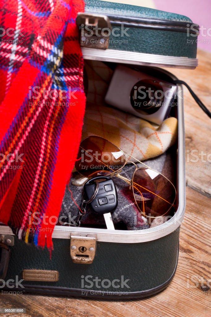 휴가 가방 및 액세서리입니다. 여행 컨셉 - 로열티 프리 관광 스톡 사진