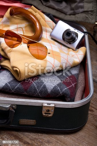 Holiday Suitcase And Accessories Travel Concept Stock Photo & More Pictures of Arts Culture and Entertainment