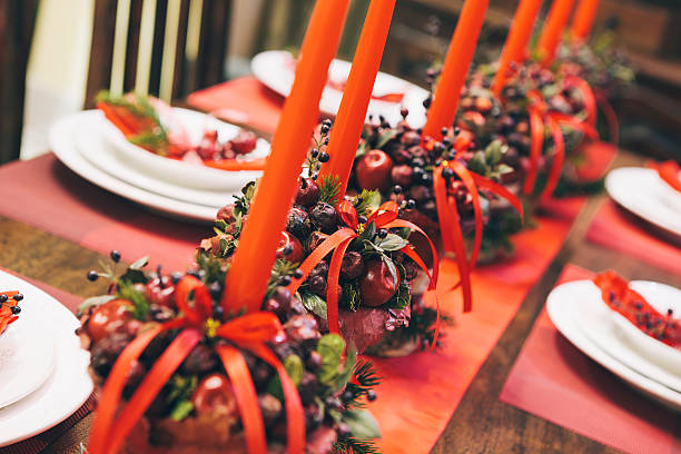 Holiday Table Close Up stock photo