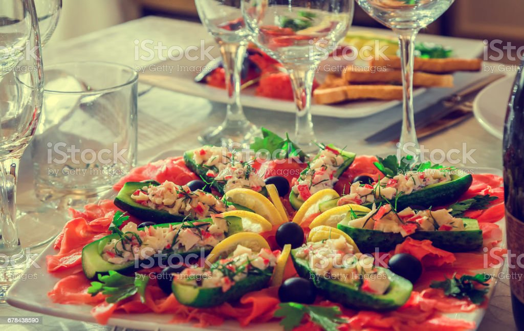 Holiday table, food sandwich stock photo