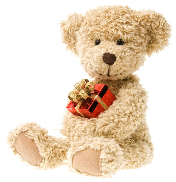 Holiday Teddy Bear and Christmas Gift  christmas teddy bear stock pictures, royalty-free photos & images