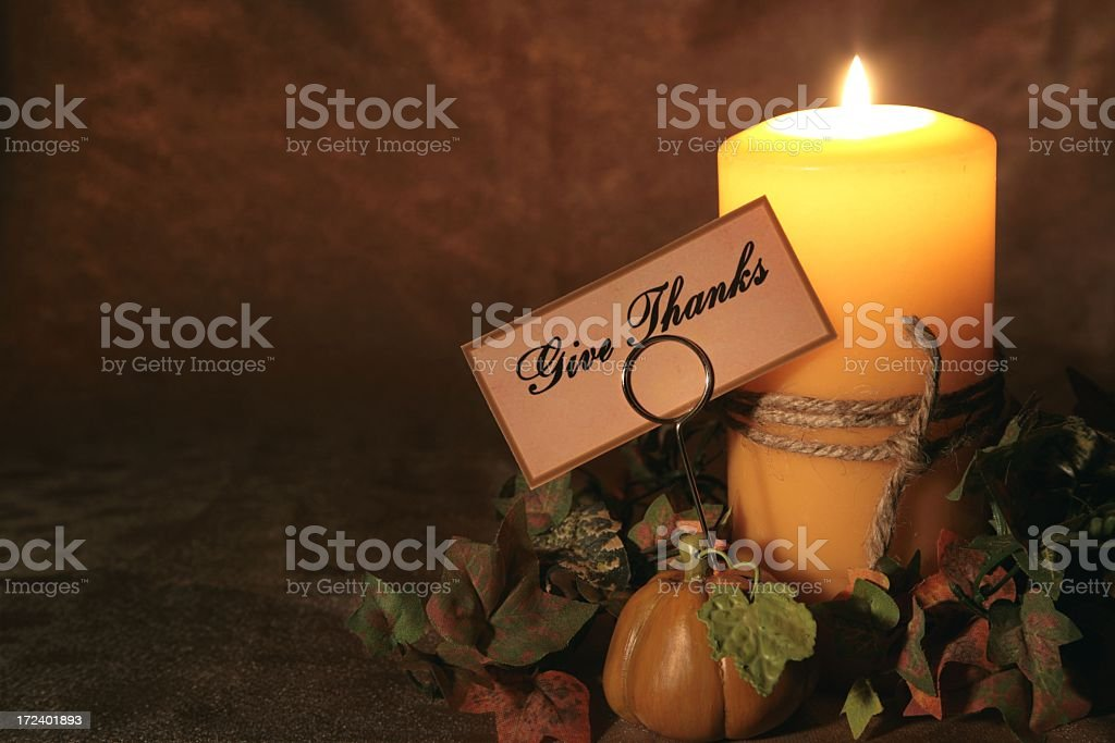 Holiday: Thanksgiving Autumn Candle with tag4 royalty-free stock photo