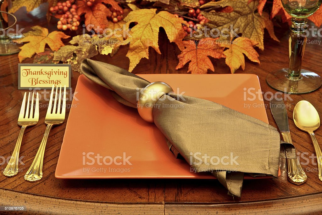 Holiday: Thanksgiving Autumn Table Setting in fall colors stock photo