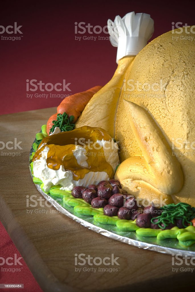 \'Roast turkey cake, a unique and festive holiday dessert on dining...