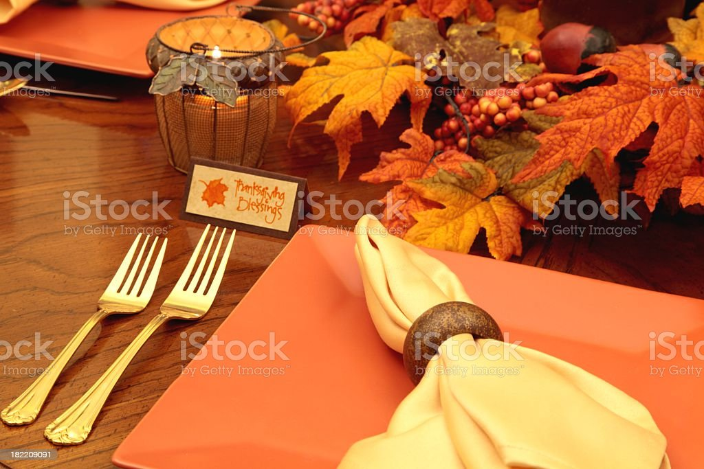 Holiday table in autumn colors.