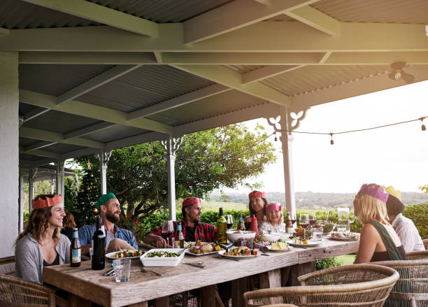 holiday traditions are important to our family - pranzo di natale foto e immagini stock