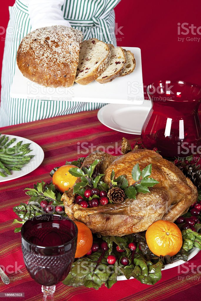 holiday turkey  dinner and woman royalty-free stock photo