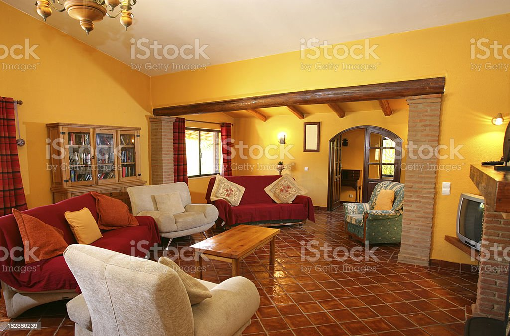 Holiday vacation villa lounge with furniture royalty-free stock photo