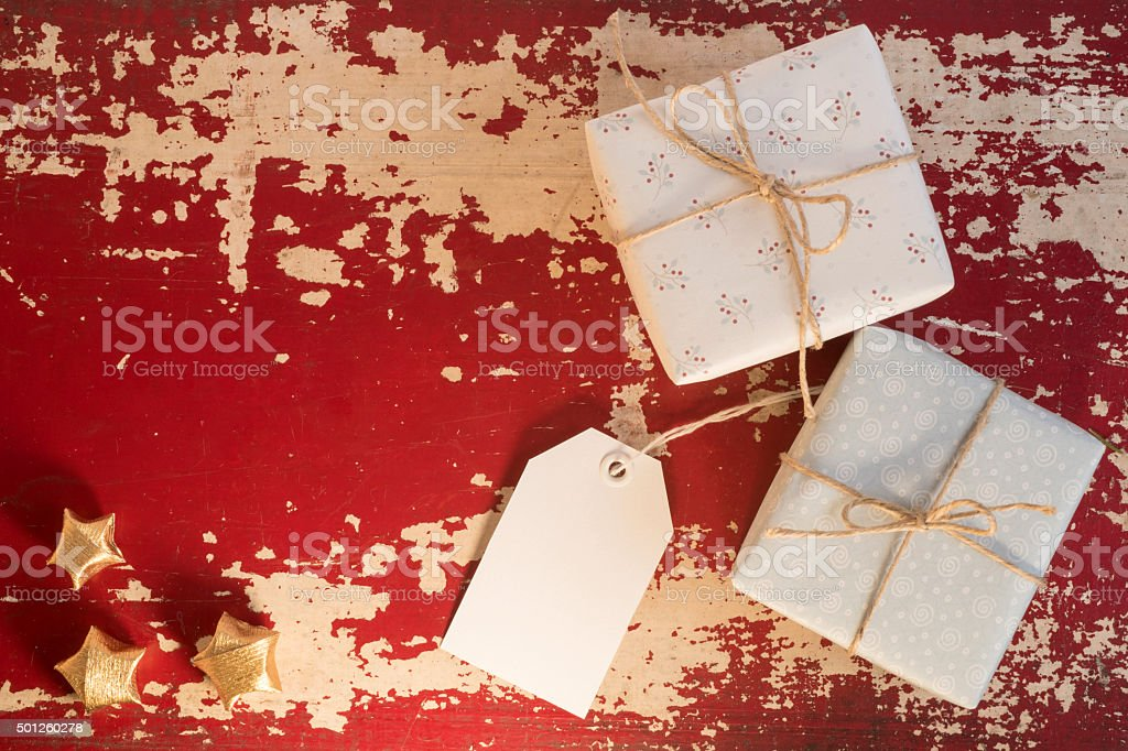 Concepto De Caja De Regalo De Navidad Vintage Etiqueta De La ...