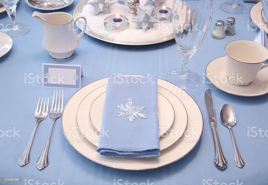 Holiday Winter Table Setting Series with white blue and silver royalty-free stock & Holiday Winter Table Setting Series With White Blue And Silver Stock ...