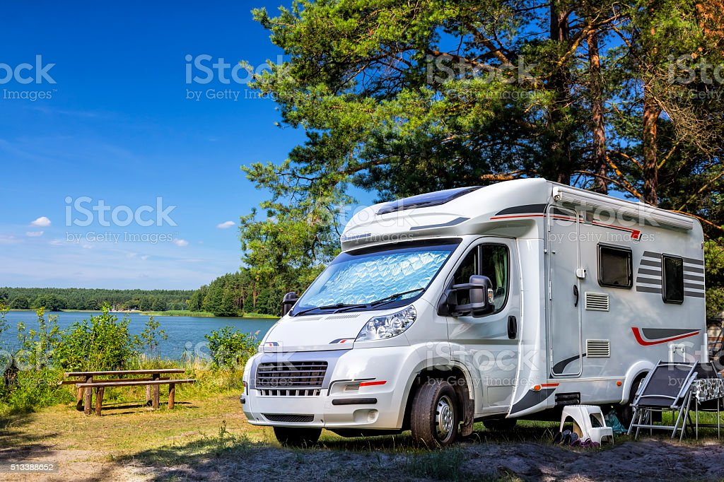 Holiday with motor home stock photo