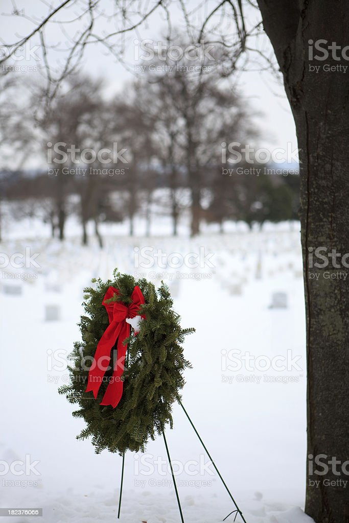 holiday wreath at Arlington National Cemetery royalty-free stock photo