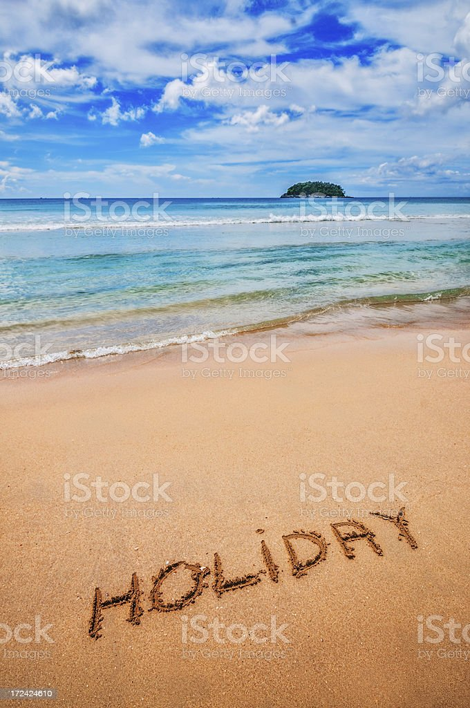 Holiday Written on the Sand stock photo