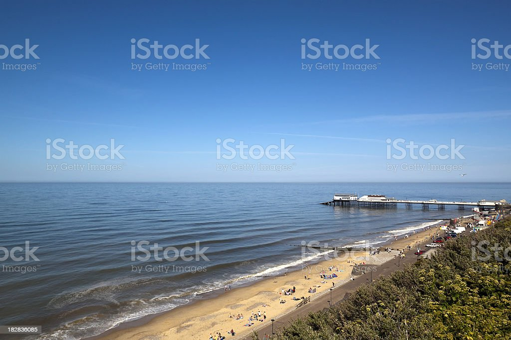 Holidaymakers on Cromer beach stock photo