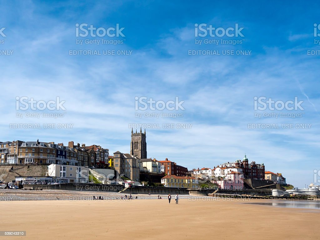 Holidaymakers on Cromer beach royalty-free stock photo