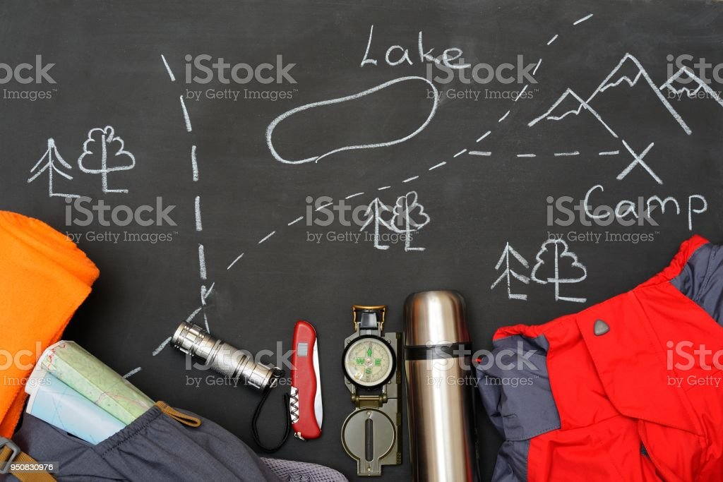Holidays and Travel accessories set on black background. Athletic Life Style. Top view point. Flat lay. stock photo