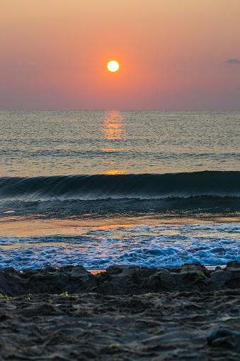 Sunsets and sunrises at sea. Sea landscape.