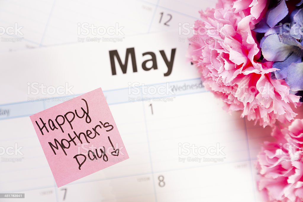 Holidays:  Flowers on May calendar.  Mother's Day! stock photo
